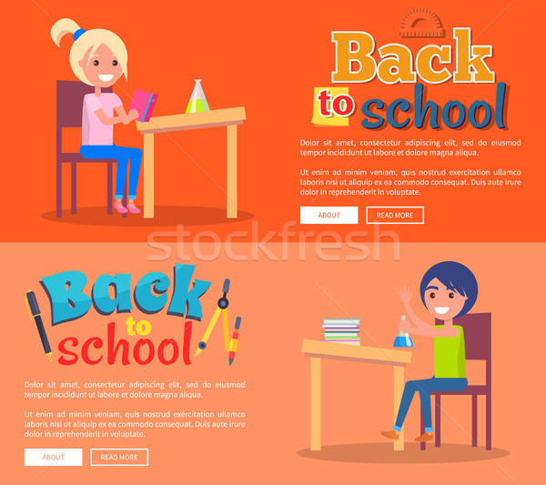 Back to School Posters Set with Girl and Boy Stock photo © robuart