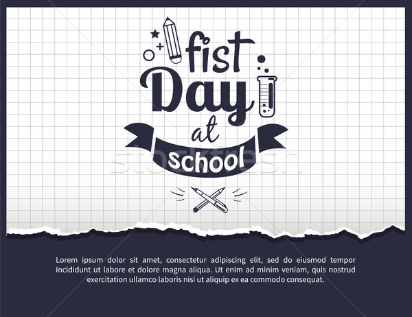 First Day at School Sticker Isolated on White Stock photo © robuart