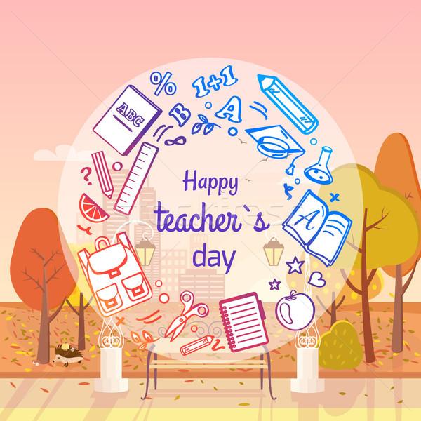 Happy Teachers Day Autumn Vector Illustration Stock photo © robuart