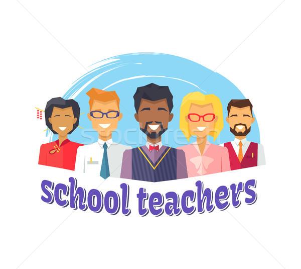 School Teachers Colorful Icon Vector Illustration Stock photo © robuart