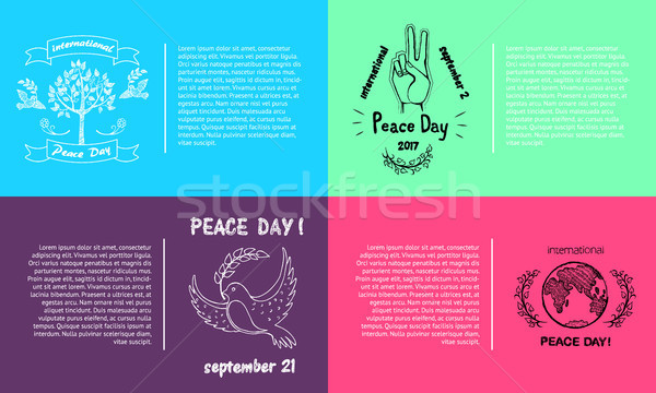 Set of Bright Posters for International Peace Day Stock photo © robuart