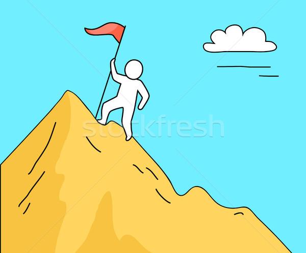 Adam tırmanma yüksek dağ siluet tek başına Stok fotoğraf © robuart