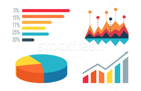 Diagrammen graphics witte verschillend kleuren nummers Stockfoto © robuart
