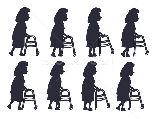 Stock photo: Elderly Woman with Walking Frame Illustration