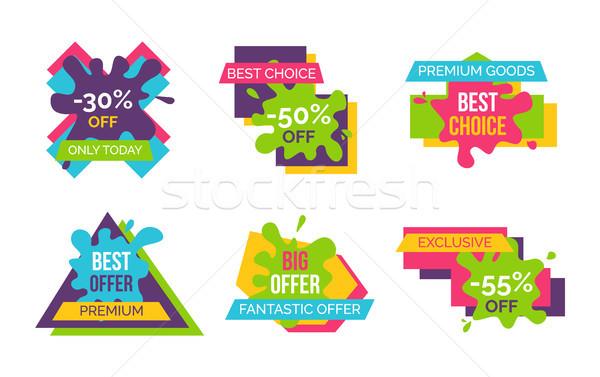 Fantástico oferecer prêmio bens conjunto ícones Foto stock © robuart