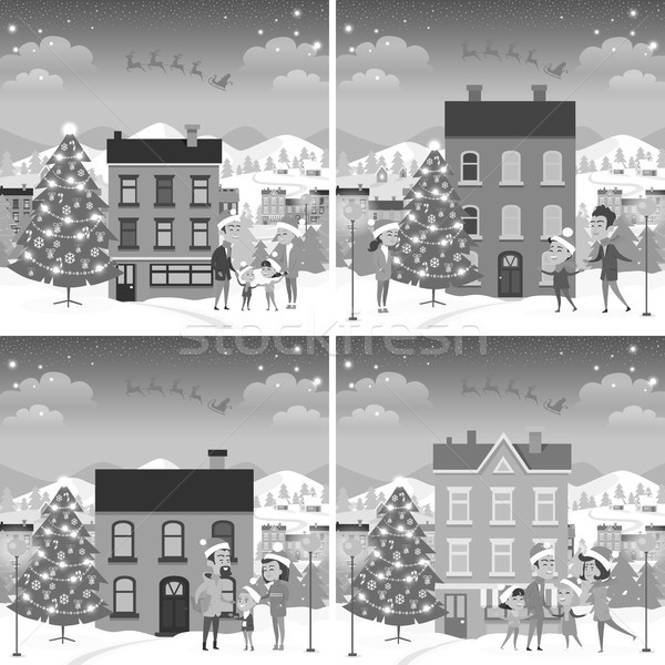Monochrome Set of Happy Families Front of Houses Stock photo © robuart