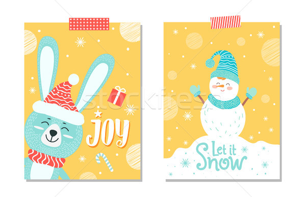 Joy and Let It Snow Poster Set Vector Illustration Stock photo © robuart