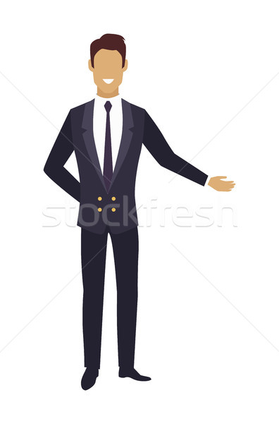 Man in Expensive Suit Pointing on Something Vector Stock photo © robuart