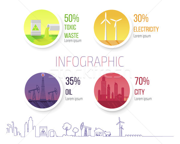 Infographic Poster Dealing Environmental Problems Stock photo © robuart