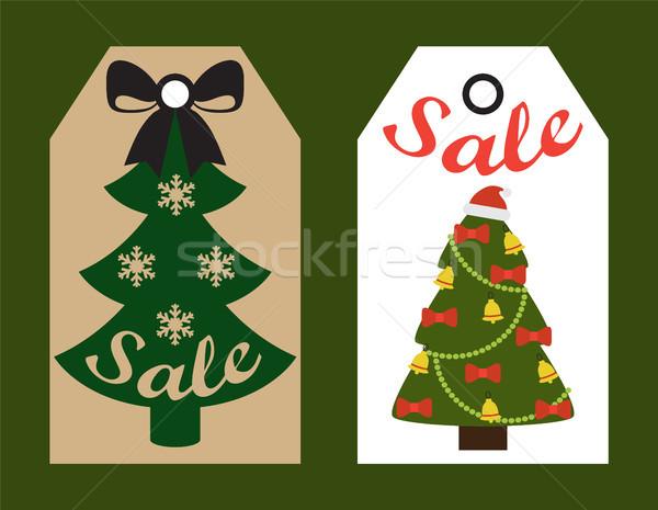 Venta decorativo etiquetas navidad decorado árboles Foto stock © robuart