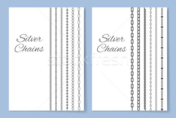 Shiny Silver Chains Vertical Advertisement Banner Stock photo © robuart