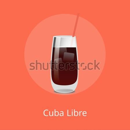 Cuba Libre Cocktail Template Vector Illustration Stock photo © robuart