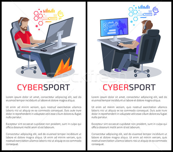 Cybersport Posters with Text Gamers Playing Games Stock photo © robuart