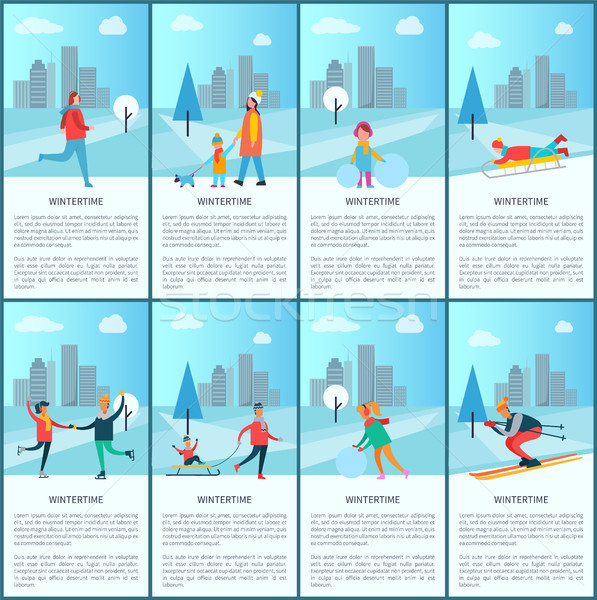 Wintertime Collection and Text Vector Illustration Stock photo © robuart