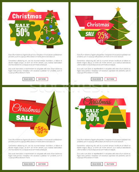Set of Christmas Sale Hot Price 50 Off Posters Stock photo © robuart