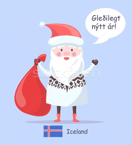 アイスランド サンタクロース プラカード 男 着用 セーター ストックフォト © robuart
