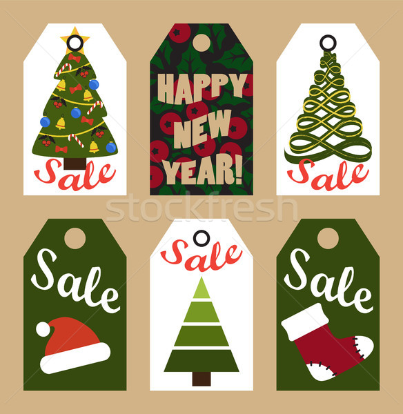New Year Sale Tags with Trees and Decorations Stock photo © robuart
