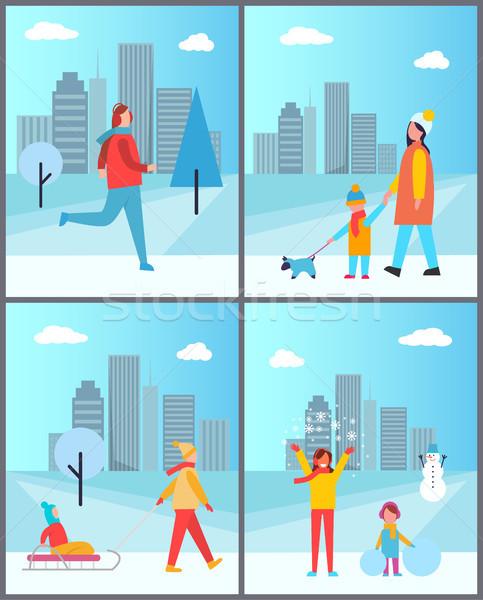 Pessoas inverno cityscape atrás conjunto menina Foto stock © robuart
