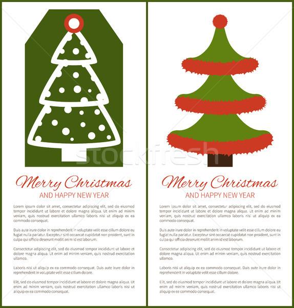 Stok fotoğraf: Neşeli · Noel · happy · new · year · posterler · ağaç · yukarı