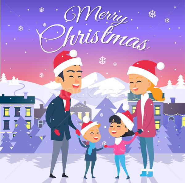 Briefkaart vrolijk christmas stad tekst familie Stockfoto © robuart