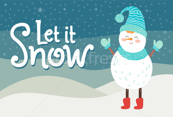 Let it snow greeting card smiling snowman in knitted scarf Stock photo © robuart