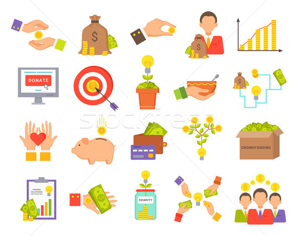 Crowdfunfing Icons Collection Vector Illustration Stock photo © robuart