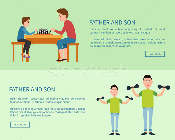 Father and Son Web Posters with Push Button Read Stock photo © robuart