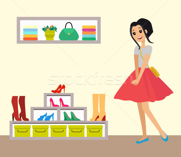 Pretty Smiling Girl in Red Skirt, Clothes Shop Stock photo © robuart