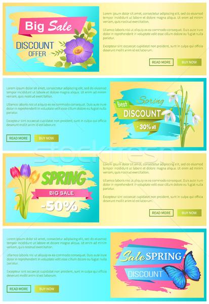 Wiosną sprzedaży internetowych plakaty zestaw zniżka Zdjęcia stock © robuart