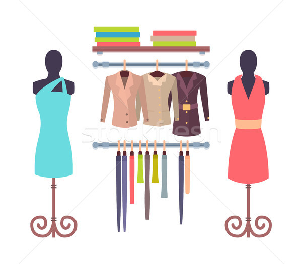 Shop Window in Store for Women Mannequins Dresses Stock photo © robuart