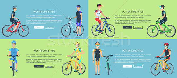Active Lifestyle Set of Posters Depicting Cyclists Stock photo © robuart