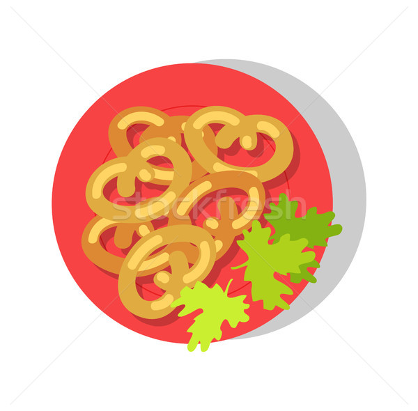 Delicious Dish on Round Red Plate, Colorful Banner Stock photo © robuart