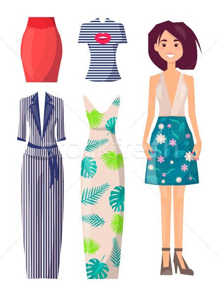 少女 スカート 花 印刷 スペア 服 ストックフォト © robuart