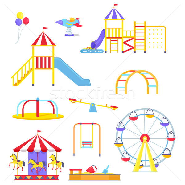 Attractions from Children Playground Illustrations Stock photo © robuart