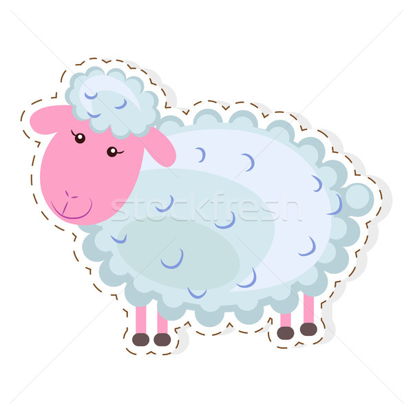 Cute sheep Cartoon Flat Vector Sticker or Icon vector
