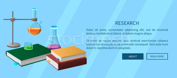 Research Web Poster with Book and chemistry tools Stock photo © robuart