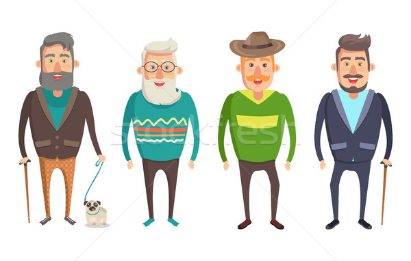 Grandfather Walking Collection Vector Illustration Stock photo © robuart