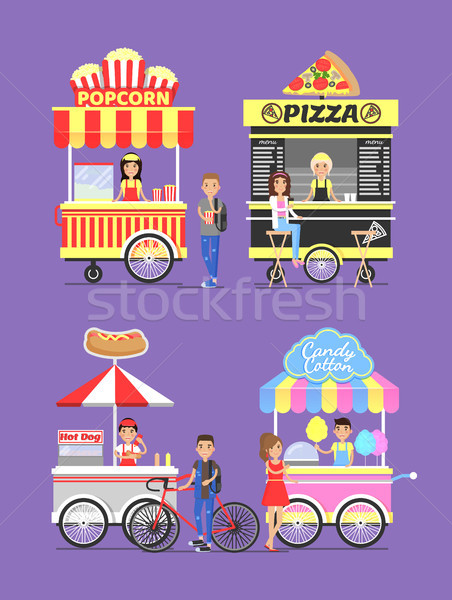 Street Carts with Food with Vendors in Aprons Stock photo © robuart