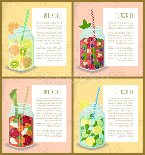 Detox Diet Set of Poster with Refreshing Cocktails Stock photo © robuart