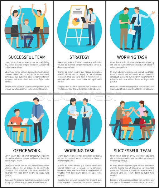 Strategy and Working Task Set Vector Illustration Stock photo © robuart