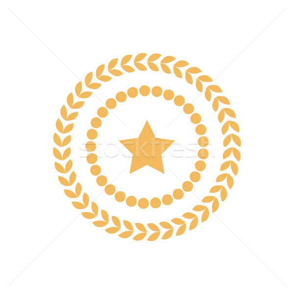 Golden Seal Round Laurel Branch Circle Dots Stamp Stock photo © robuart