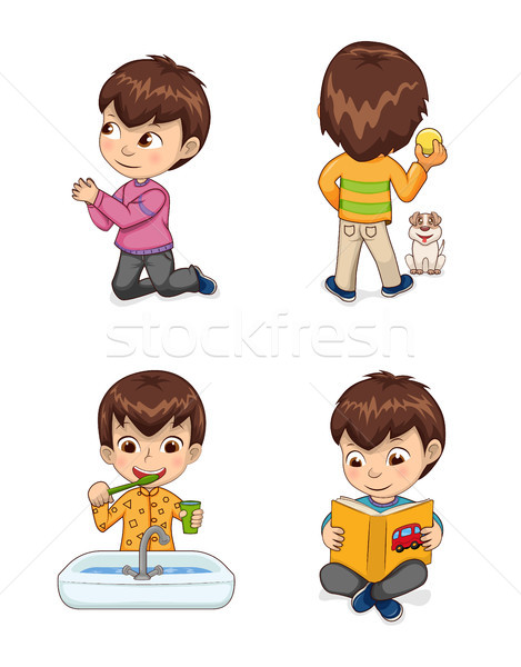 Little Cute Boy Does Casual Childish Actions Set Stock photo © robuart