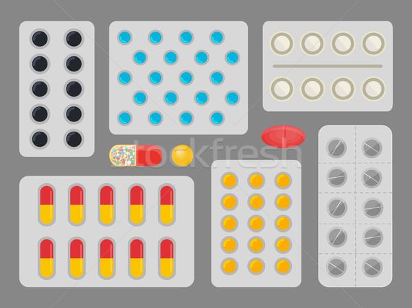 Gyógyszer kapszulák hólyag szett különböző effektek Stock fotó © robuart