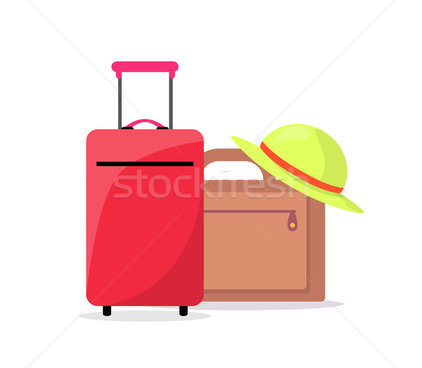 Modern Suitcases and Summer Hat Ready to Travel Stock photo © robuart