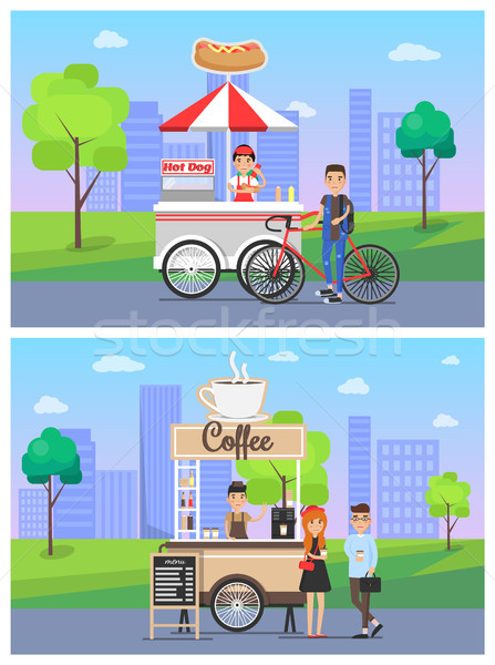 Coffee and Hot Dog Shops Set Vector Illustration Stock photo © robuart