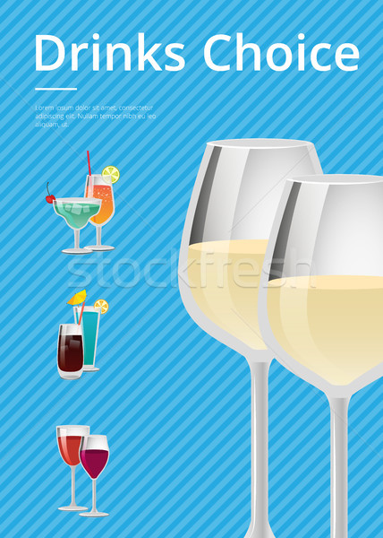 Drinks Choice Poster Champagne Wineglass Cocktails Stock photo © robuart