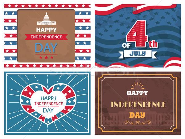Manifesti dedito giorno america patriottico vacanze Foto d'archivio © robuart