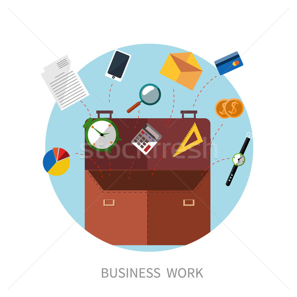 Briefcase with office accessories concept Stock photo © robuart