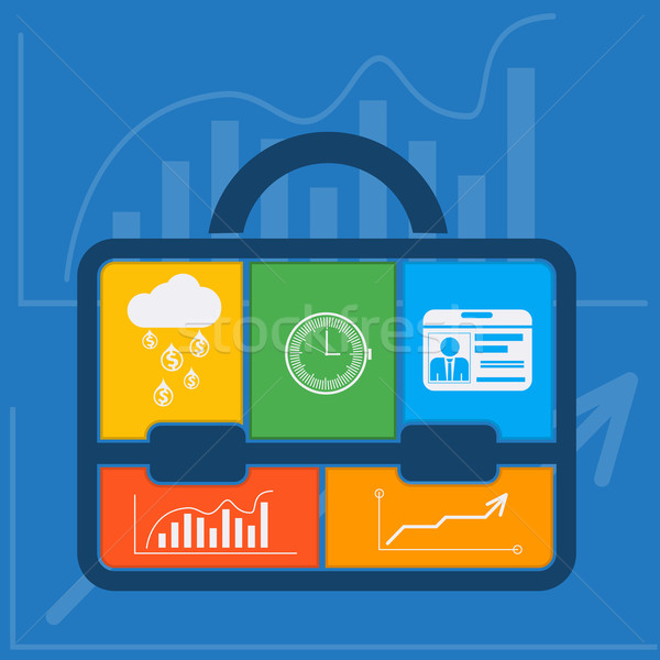 Briefcase with graph clock badge money cloud Stock photo © robuart