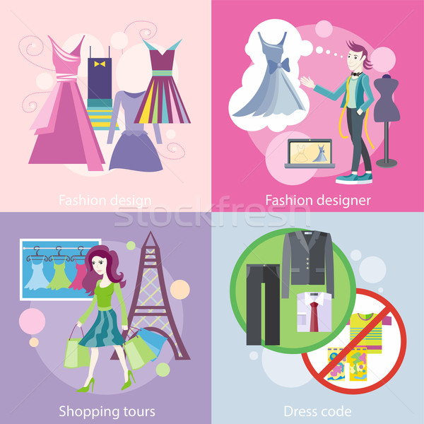 Fashion Designer Design, Shopping Tour, Dress Code Stock photo © robuart